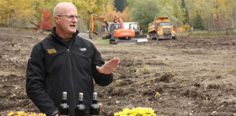 Former Prince George MLA and cabinet minister Pat Bell announces that his family is building Canada's northernmost winery, Northern Lights Estate Winery, just off PG Pulpmill Road Friday. The winery will feature an amphitheatre, restaurant, and be in production by 2015. Bill PHILLIPS/Free Press