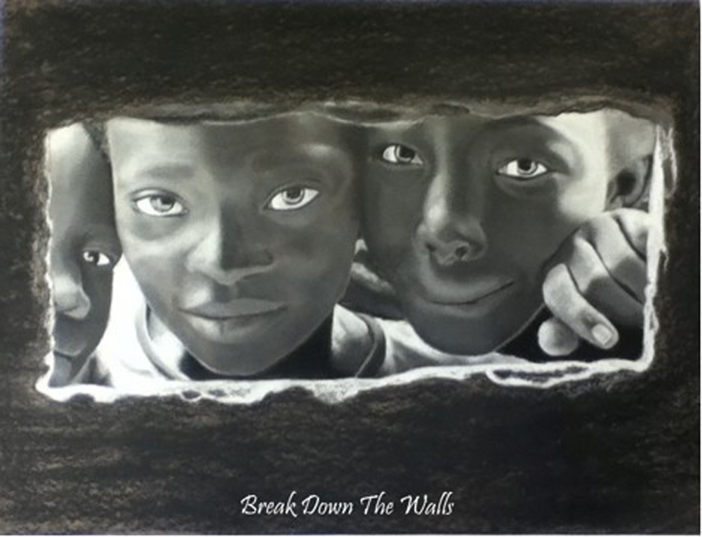 Katherine Fullerton, a student at Cedars Christian School, has had her charcoal portrait, Break Down the Walls, selected as the winner of a national challenge. Courtesy Passages Canada
