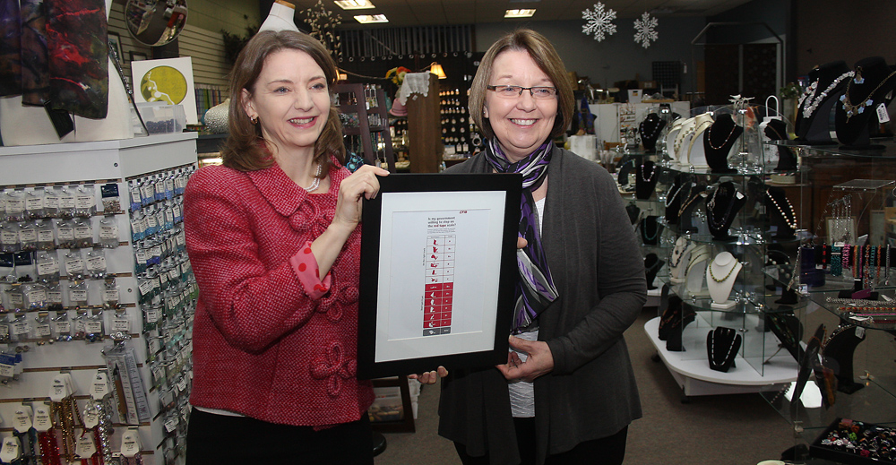Using the Topaz Bead Gallery as a backdrop, Laura Jones, executive vice-president of the Canadian Federation of Independent Business, presents Jobs Minister Shirley Bond with a certificate in recognition of B.C. getting an 'A' in the CFIB's annual red tape reduction report card. Bill PHILLIPS/Free Press