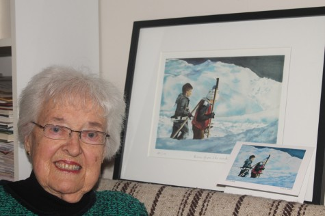 Prince George artist Doris Dittario with a print and VIP gifting card of her water colour image Home from the Rink. Dittario was among a select few artists whose works were chosen for the cards. Teresa MALLAM/Free Press