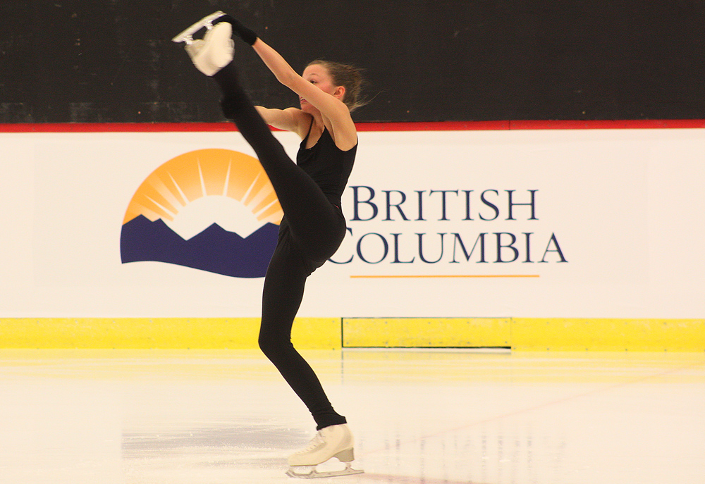 Team BC skater Olivia Gran, who is in the women's pre-novice competition at the 2015 Canada Winter Games, practices her routine at the Lakewood Dental Arena Monday afternoon. Bill PHILLIPS/Free Press