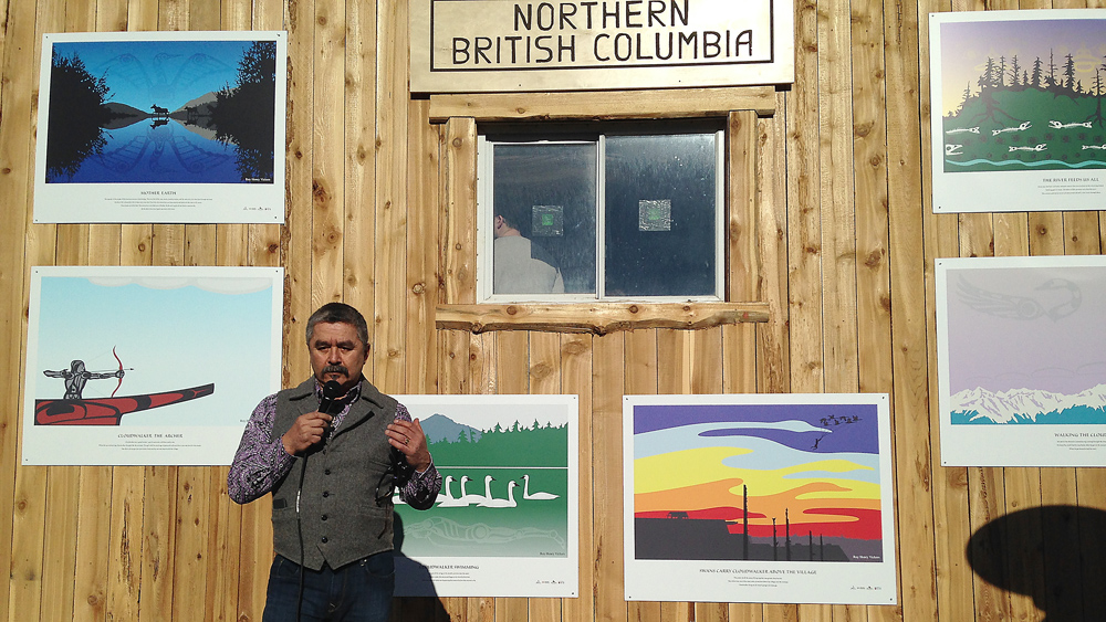 Renowned artist Roy Henry Vickers gives a talk in front of images of his artwork from Cloudwalker at the Lheidli T'enneh pavilion Sunday, as part of the 2015 Canada Winter Games. Submitted photo