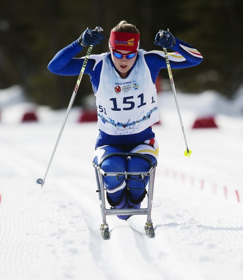 Emily Suchy, from Revelstoke, competes in the cross country para female competition during the 2015 Canada Winter Games at Otway Nordic Centre Monday. Kevin BOGETTI-SMITH/Team BC