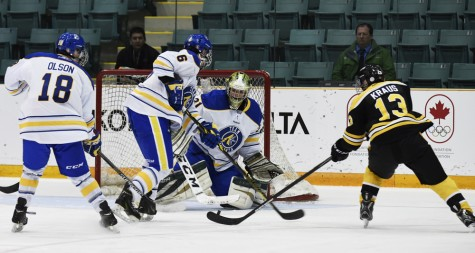 Team Alberta netminder Ian Scott readies for the shot during semifinal men's hockey action Friday. Alberta beat Manitoba goes up against Ontario in the gold medal game Sunday. Philomena HUGHES/2015 Canada Winter Games