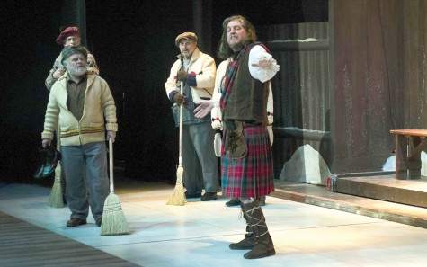 Macbeth (Paul Herbert) feels a soliloquy coming on as skip Wullie MacCrimmon (William Vickers) and curling mates Pipe Fitting Charlie Brown (Kim Kondrashoff) and Malleable Charlie Brown (Kent Allen) step back to allow the tartan-clad devil's team member an opportunity to quote from Shakespeare. Photo Courtesy Philomena Hughes