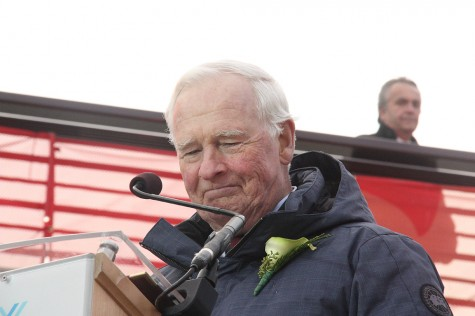 The Rt. Hon. David Johnston, Gov. General of Canada, during his opening address at the 2015 Canada Winter Games Closing Ceremonies held at the Agora at the University of Northern British Columbia. Teresa MALLAM/Free Press
