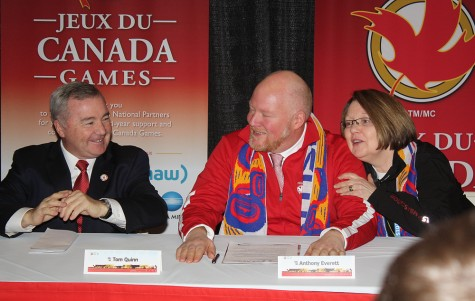 An emotional Anthony Everett, chair of the 2015 Canada Winter Games, is consoled by Prince George-Valemount MLA Shirley Bond and Canada Games Council chair Tom Quinn during the closing press conference for the Games Sunday morning. Bill PHILLIPS/Free Press