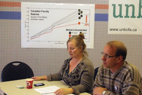 UNBC Faculty Association members Jacqueline Holler and Ted Binnema speak to a media conference Monday afternoon about the issuing of 72-hour strike notice that morning. The chart on the wall behind them, using data from Vince Ready's arbitration report, shows the school's faculty salaries 20 pr cent below those of Mount Allison, the top-ranked university in Canada, according to Maclean's magazine. UNBC is ranked second. Allan WISHART/Free Press