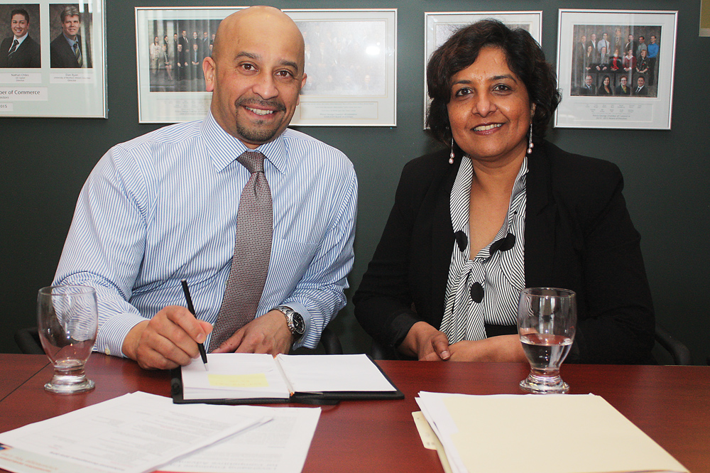 Christian Codrington, director of regulatory affairs for the Human Resource Management Association, and Sangeeta Subramanian, senior manager, workplace development for the Immigrant Employment Council of B.C. were in Prince George Tuesday delivering a workshop designed to connect employers with immigrant workers. Bill PHILLIPS/Free Press