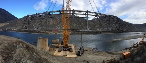 The final section of the Old Spences Bridge near Ashcroft is removed March 11. Bridge spending is up 50 per cent in a new 10-year transportation plan. B.C. Transportation Ministry