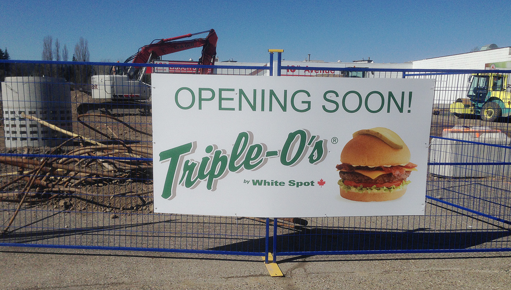 Work is underway on a new restaurant on Central Street in Prince George. A new White Spot Triple O's is planned for the West Central and 10th Avenue, between Burger King and Wendy's. Bill PHILLIPS/Free Press