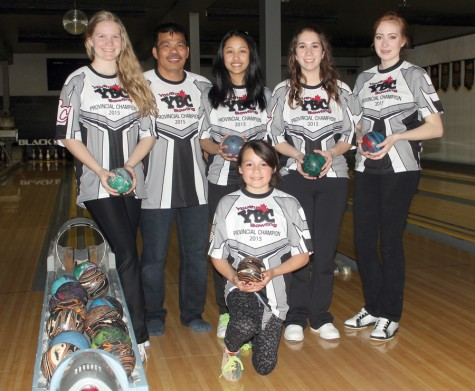 Paige Meise, back left, coach Chito Tecson, Lezzyl Aquino, Kassidy Johnson and Megan Reimer will be representing B.C. in the Senior Girls division at the National Youth Bowling Championships, while Jadyn Arnett, front, will be the province's representative in the Girls Bantam singles event. Allan WISHART/Free Press