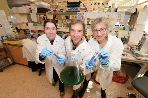 UNBC researchers Elizabeth Dunn, left, Stephen Rader and Martha Stark have found a new way to study gene splicing.