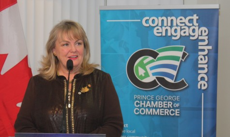 National Revenue Minister Kerry-Lynne Findlay speaks with Prince George Chamber of Commerce members Wednesday about the federal government's efforts to reduce red tape. Bill PHILLIPS/Free Press