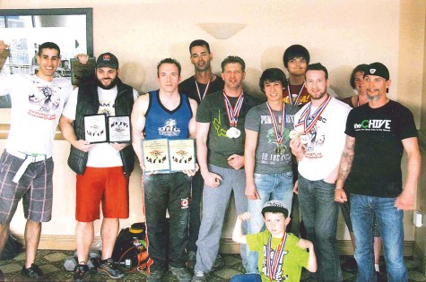 Local arm wrestlers brought back a lot of trophies and awards from the B.C. Provincial Championships, held last weekend in Kelowna. Photo Courtesy of Dan Gallo