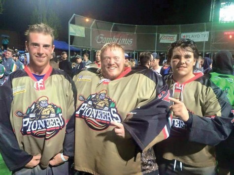 Andrew Schwab, left, Jamie Bellamy and Pierce Watson have winning smiles after they helped the Vancouver Pioneers win the Ales Hrebesky Memorial Box Lacrosse Tournament on the weekend. Photo courtesy James Watson