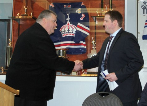Prince George Spruce Kings general manager Mike Hawes, left, welcomes new coach Chad van Diemen after introducing him at a press conference Friday morning. Allan WISHART/Free Press