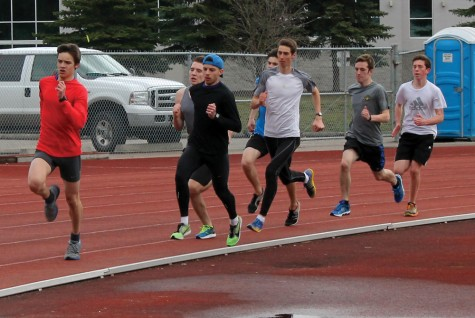 Members of the Prince George Track and Field Club were on the track at Masich Place Stadium on Saturday, getting ready for this weekend's Sub Zero Meet, the opening event on this year's schedule. Allan WISHART/Free Press